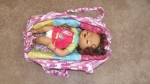 crochet doll bed-bag- ready and baby