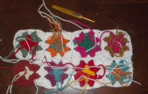Granny Square cushion cover-back in progress