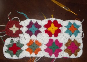 Granny Square cushion cover-crochet in progress