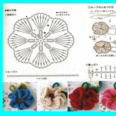 Как сделать цветы крючком на горшке