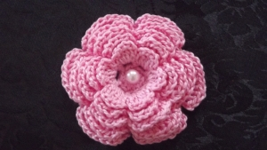 Crochet lotus flower front