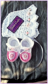 baby bonnet and booties crochet