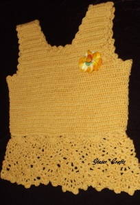 pineapple crochet kids tee with the flower- by Glaser Crafts