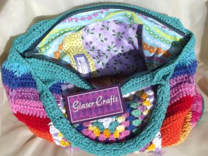 crochet colored purse inside and out