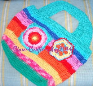 colorful crochet purse
