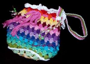 crochet coloured pouch