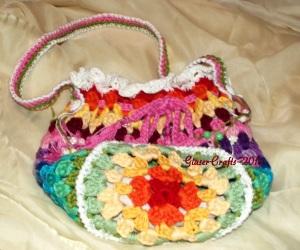 crochet coloured pouch- round granny