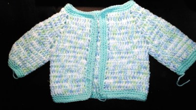 Crochet Baby jacket for Harris- by glasercrafts